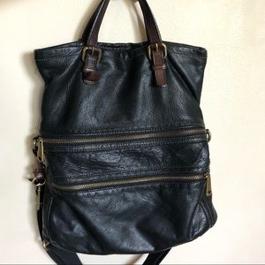 Fossil Explorer Fold Over Tote in Black
